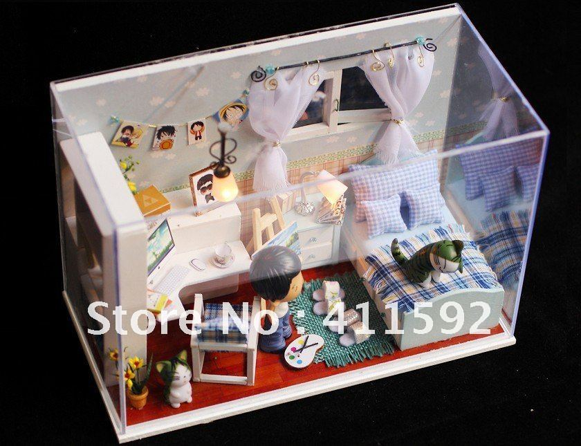 3D wooden dollhouse doll wood house with furniture(China (Mainland))