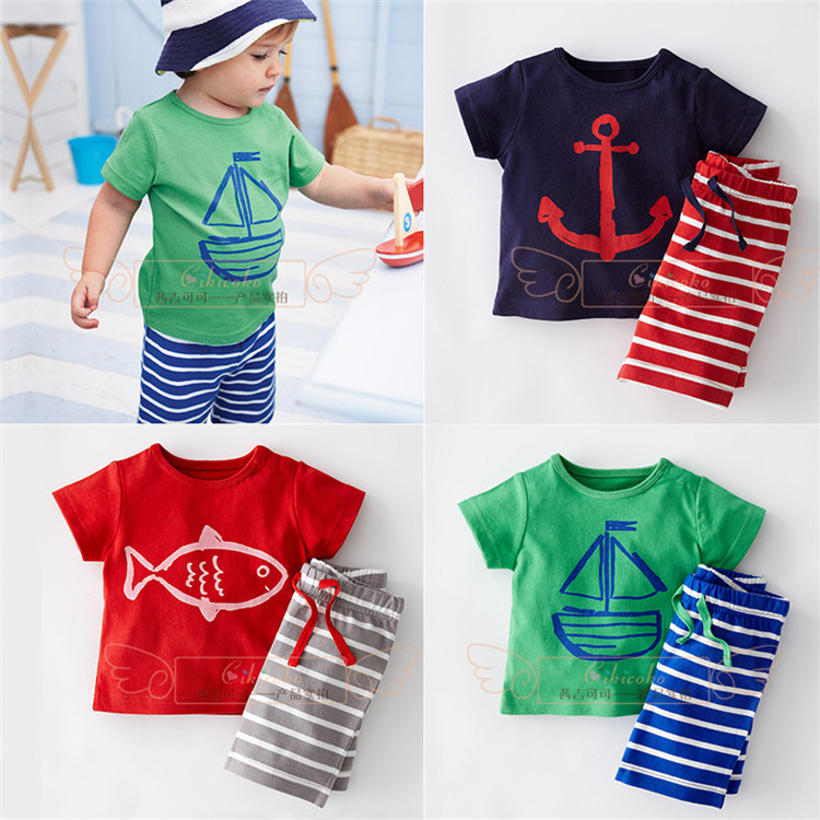 2015 new summer cotton boys Fish cartoon images clothing sets kids girls and boys t shirt+short pant two pieces clothing set(China (Mainland))