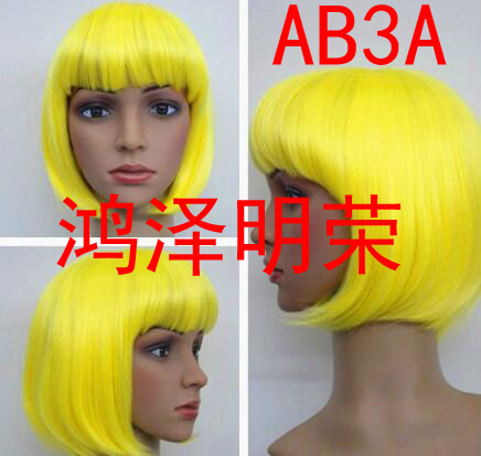 DYZ+++520 100% Real Hair! 6 Colors Women Men Hairpiece Straight Short Hair Cosplay Wig Party Full Wigs(China (Mainland))