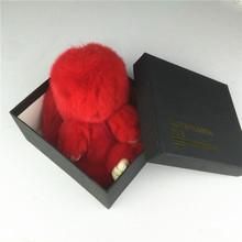 Rex Rabbit Fur 18cm Cute Real Rabbit Fur Pendant Bag Ornaments Toy Wallet Pom Pom Car Pendant with Gift Box(China (Mainland))
