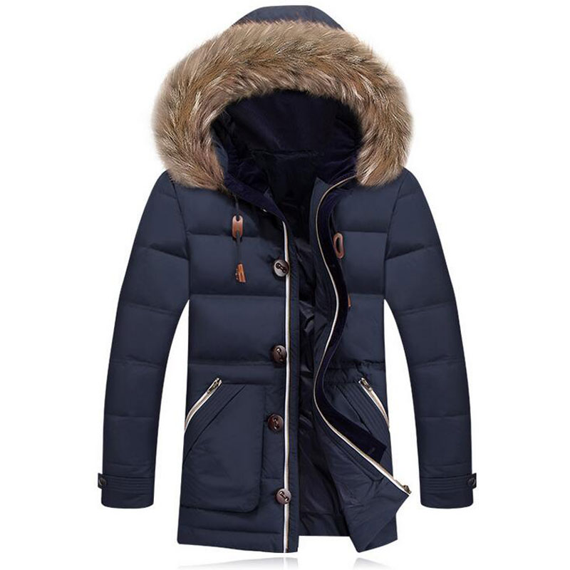 Men Down Parka Duck Fashion Design Faux Fur Down Jacket Outdoor Hombre Invierno Average 1.3KG/pcs Thicken Long Section Outwear(China (Mainland))