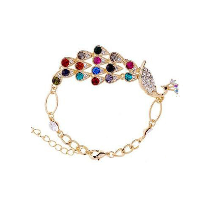 New jewelry Color Crystal Peacock Bracelet(China (Mainland))