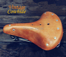 Vintage Cowhide Leather Bicycle Saddle Retro Riveted Cycling Saddle Seat Bike Seat Cover Bike Accessories Bicicleta(China (Mainland))