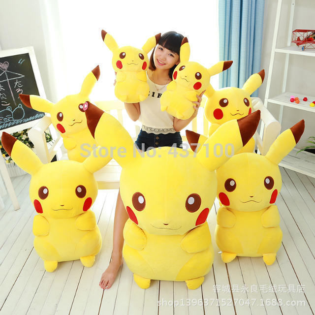 Cheap In Stock 35 cm Cute Giant Pikachu Plush Toy Pokemon Pelucia Stuffed Plush Toys for Children Brinquedos Baby Toy(China (Mainland))