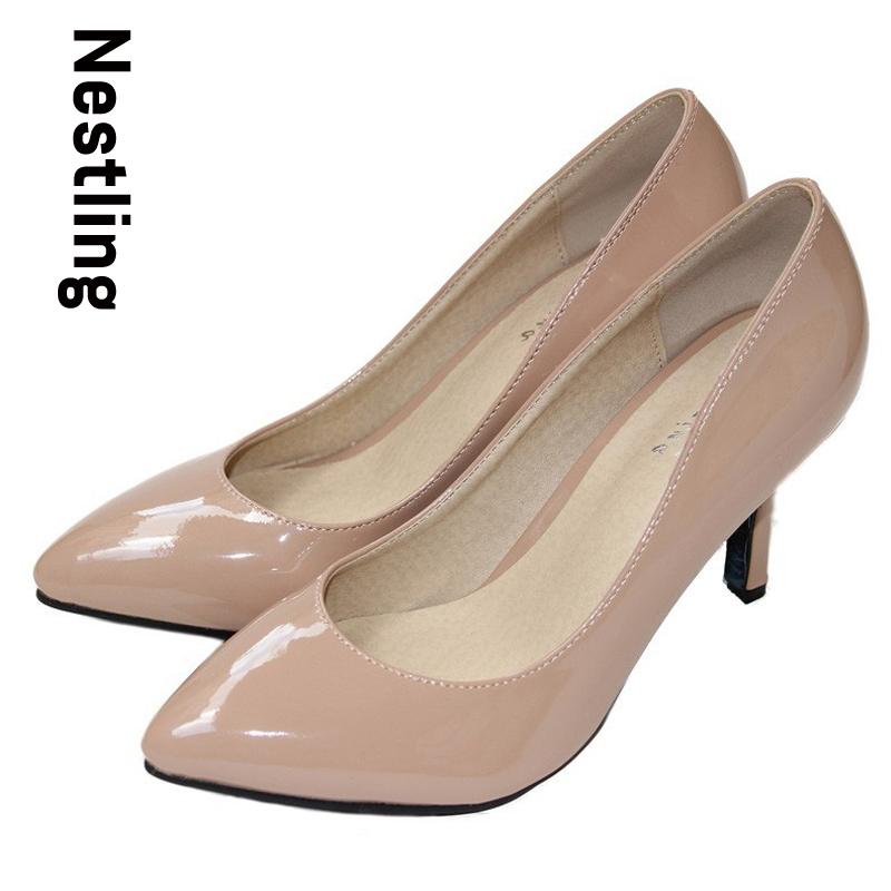 Гаджет  New 2015 sheepskin pointed toe OL women pumps Patent leather spike heels women high heels shoes woman Plue size 34-41 D45 None Обувь