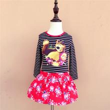 Girls Dresses Cotton Long Sleeve Cartoon Masha and Bear Striped Flower Girl Dress Baby Girl Clothing 12m-3t Olike Brand(China (Mainland))