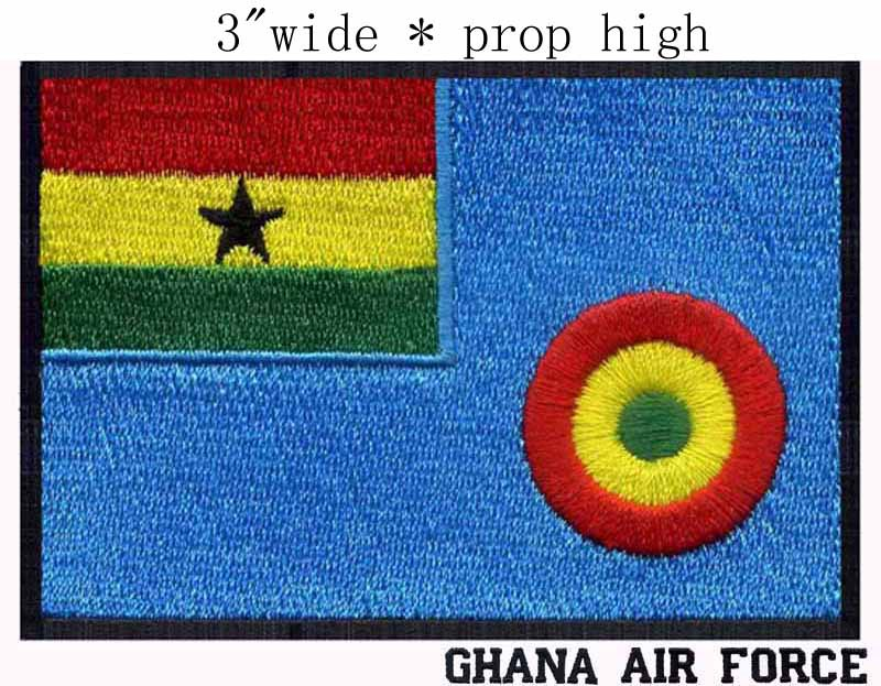 """Ghana Air force Flag embroidery patch 3"""" wide shipping/ Air signs /Ghana power/ force Ensign(China (Mainland))"""