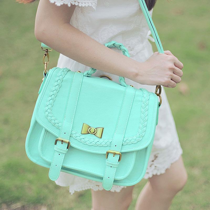 preppy style Candy color satchel bag small fresh mint green Shoulder Bag cute Macaron messnger bag Japan double shoulder bag(China (Mainland))