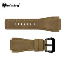INFANTERIE 24mm Echtes Leder Uhrenarmbänder Bands Braun/Schwarz/Beige Uhrenarmbänder mit Edelstahl Bukle Verschluss(Hong Kong)