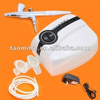 Freeshipping Portable Makeup Airbrush Mini Air Compressor 5 Speed with Spray Gun Airbrush tattoo 24 hours Working