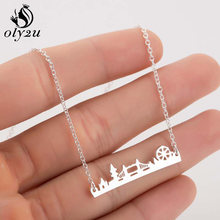Oly2u Silver Chain Deer Pendants Necklaces For Women Choker Necklace Stainless Steel Long collares femme Fashion Jewelry Chokers(China)