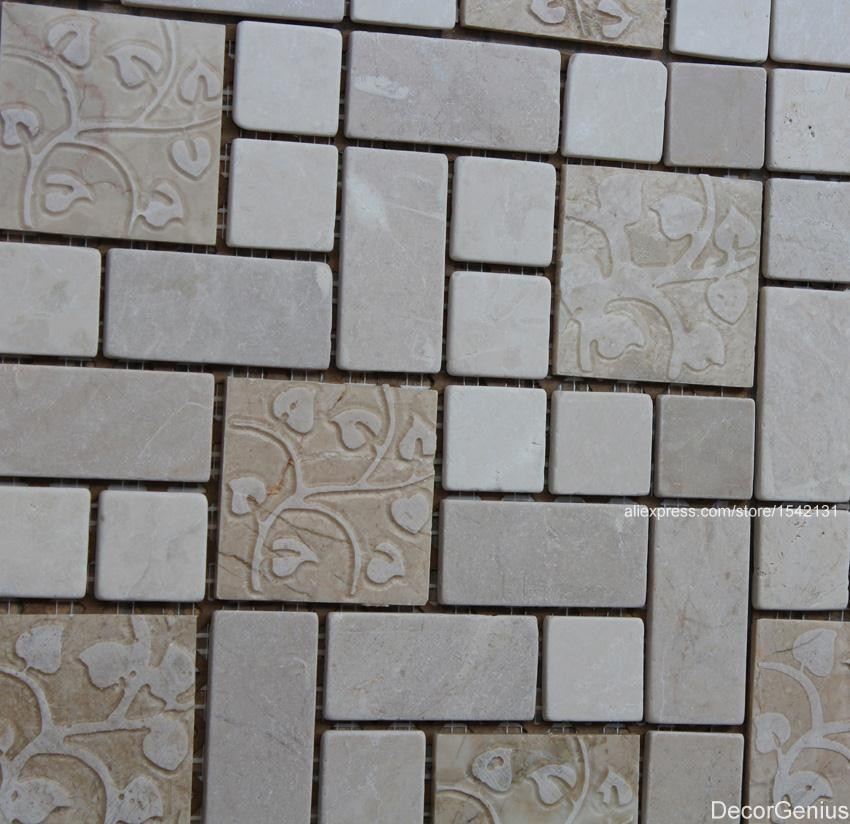 marble off white natural cutting mosaic tile kitchen