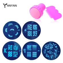 Nail Art Stamping,5pcs Image Plates and Stamper Scraper Set,81designs UV Gel Polish Konad Mould Templates,Nail Decoration Tools