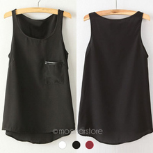 Fashion 3 Colors New Simple Casual Solid Women Girl Chiffon Sleeveless Vest Tank Tops Blouse T-Shirt Camisole Shirt XE3112#C9(China (Mainland))