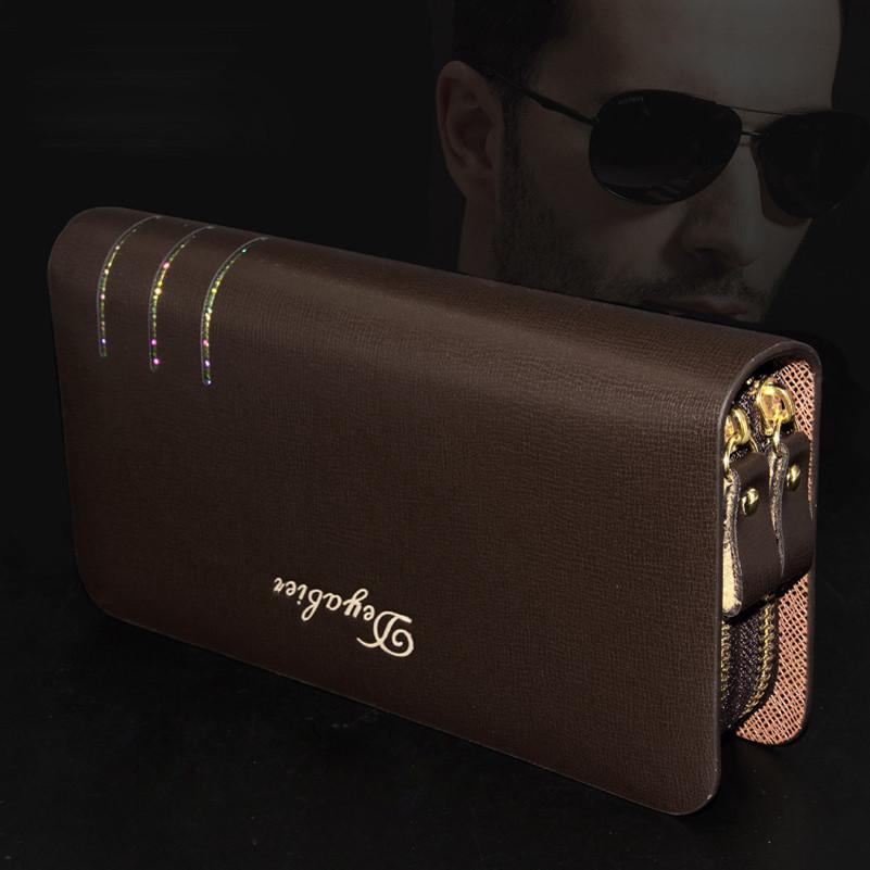 Гаджет  High Fashion Designer Leather Business Style Brand Long Clutch Handbag Man Purse Women Wallet Men Wallet Double Zipper Wallets None Камера и Сумки