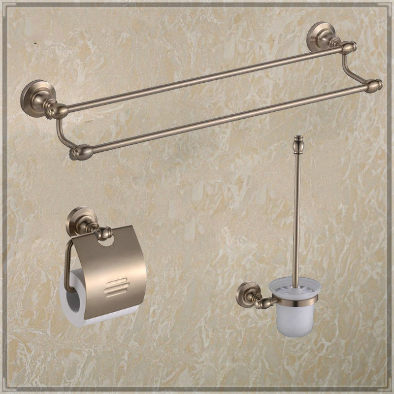 Bathroom Space Aluminum Accessories Bathroom 3pecs Set Double Towel Bar Paper