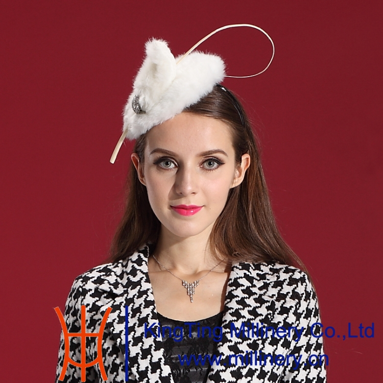 Free Shipping Women Fascinator Hat Hair Comfortable Fur Feather Fashion Ladies' Hair Accessories Special Noble Hat Modern Style(China (Mainland))