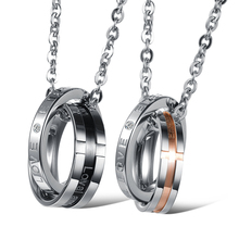 New arrival 316L stainless steel necklace exquisite rings mixed match pendant for couple 859