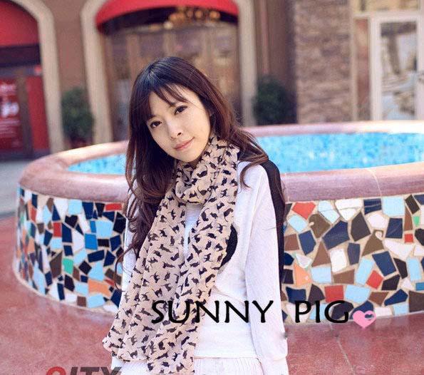 New Fashion Women's Chiffon Scarves Geometric Animals Scarves Cats Scarf Shawl women Wholesale Promotion Pashmina(China (Mainland))
