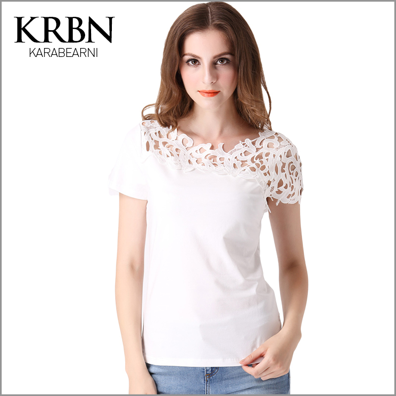 summer style t shirt women tops fashion 2015 white solid O-neck hollow out casual plus size T-shirt camisetas y tops T-03(China (Mainland))