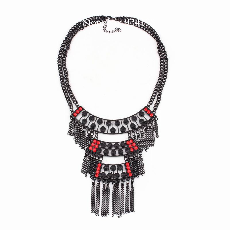 Wholesale high quality 2016 new fashion crystal inlaid necklace double chain statement chunky pendant tassel popular necklace(China (Mainland))