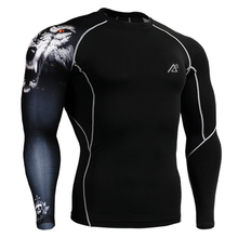 Man's Skin Tight Shirts Long Sleeves One Side Prints Compression Shirts MMA Gym Crossfit Sports Wear T-Shirts Running Fitness