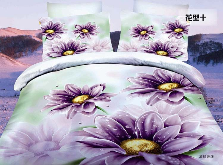fresh Water Lily flowers 3D bedding promotion 3D bedclothes reactive cotton/polyester 4pcs bedding set Queen size bed linen 2283(China (Mainland))