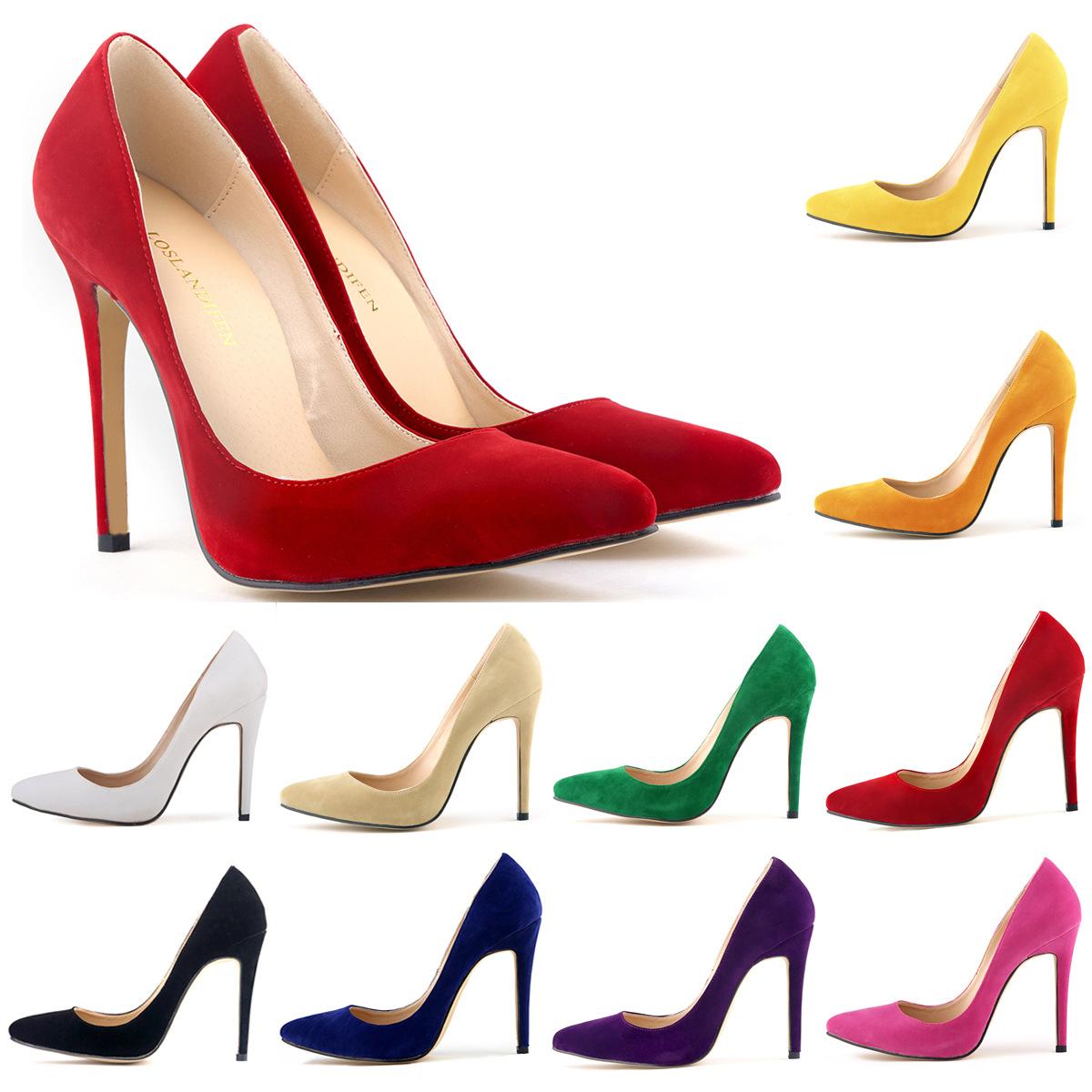 2015 Classic sexy summer women flock thin high heels pointed toe women's shoes woman highheels pumps