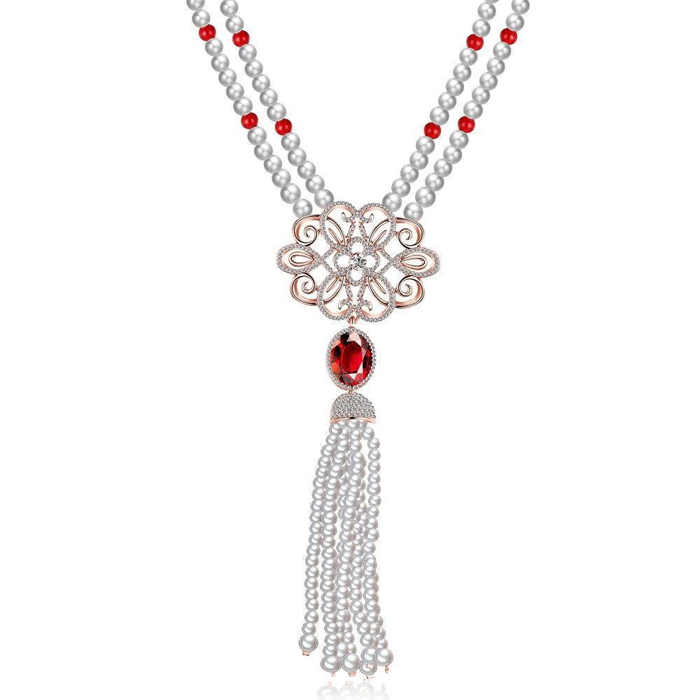 New 2016 Hot Fashionable Style Hollow Flower Faux Pearl Tassel Design Zircon Embellished Ladies Long Necklace Women Pendants <br><br>Aliexpress
