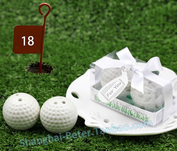 50box Ceramic Golf Ball Salt and Pepper Shaker Club Promotion Gifts TC030(China (Mainland))