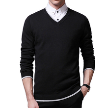 Brand 2015 New Autumn Jumpers Pullover Sweater Casual Wools Men's Sweaters Embroidered V-Neck Sweater Slim Male Cashmere sweater(China (Mainland))