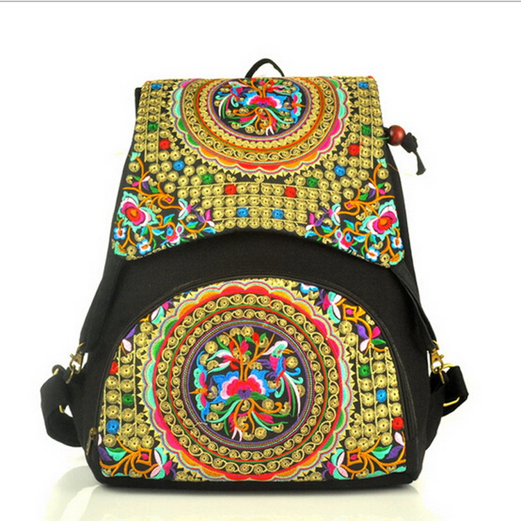 National trend canvas embroidery Ethnic backpack women handmade flower Embroidered Bag Travel Bags schoolbag backpacks mochila<br><br>Aliexpress