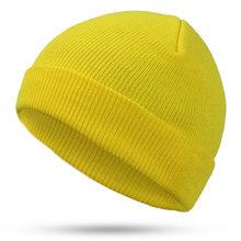 2019 moda quente cor sólida malha gorros chapéu chapéus de inverno quente homem/mulher múltipla cor skullies boné macio gorras osso gorras(China)
