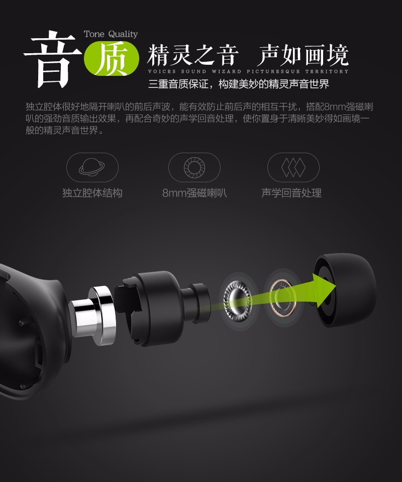 QCY Bluetooth Earphone Noise Cancelling Earbuds Sport Music Stereo Headset with Mic Ecouteur Casque for iPhone Samsung