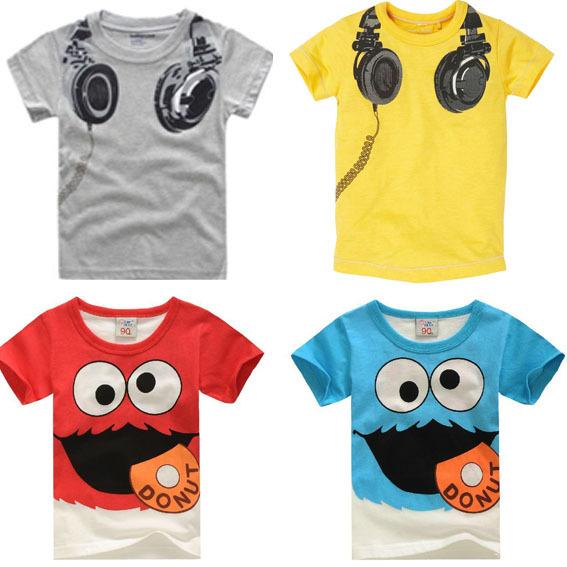 New Headphone Design T shirt Boys Kids Short Sleeve Tops T-shirt Tees 100% Cotton(China (Mainland))