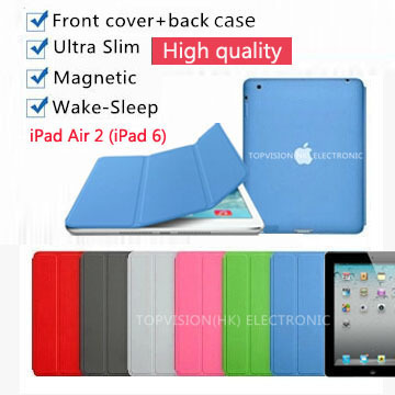 original design 3 fold+mental frame+transparen back case+leather magnetic smart cover apple ipad air 2 case 6 thin slim skin - TOPVISION(HK store ELECTRONIC CO.,LIMITED)