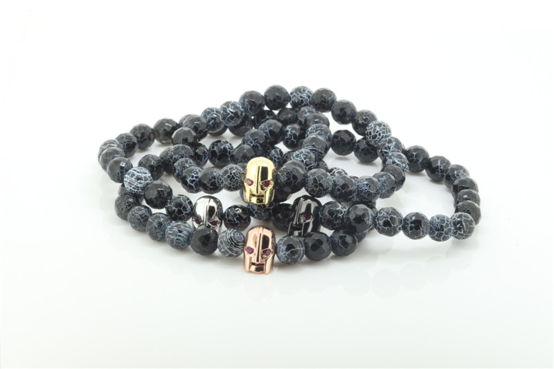 2016 Anil Arjandas Men Bracelets ,Crack Agate Beads Bracelets with Evil-Eyes Gold Skull Head for Man and Women ,sterling jewelry(China (Mainland))