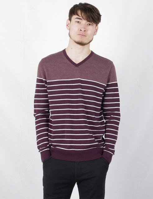 2016 весна 100% хлопок вязаный пуловер свитер v-шея длинный рукав полоса свободного ...