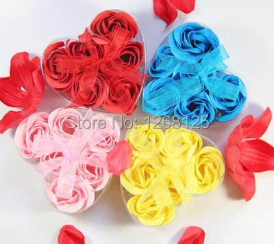Hot 6pcs Scented Rose Flower Petal Body Bath Soap Gift Wedding Favor Heart Box 6922 c6hT(China (Mainland))