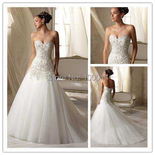 Vintage Sweetheart Beadwork White Ivory Wedding Dresses Custom Made sizes