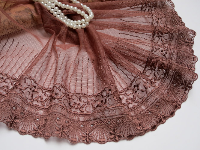 New Arrival Wholesale Price 8meters/lot 19Cm Top Quality Coffee Color Lace Trim Tulle Embroidered DIY Garment Sewing Accessory(China (Mainland))
