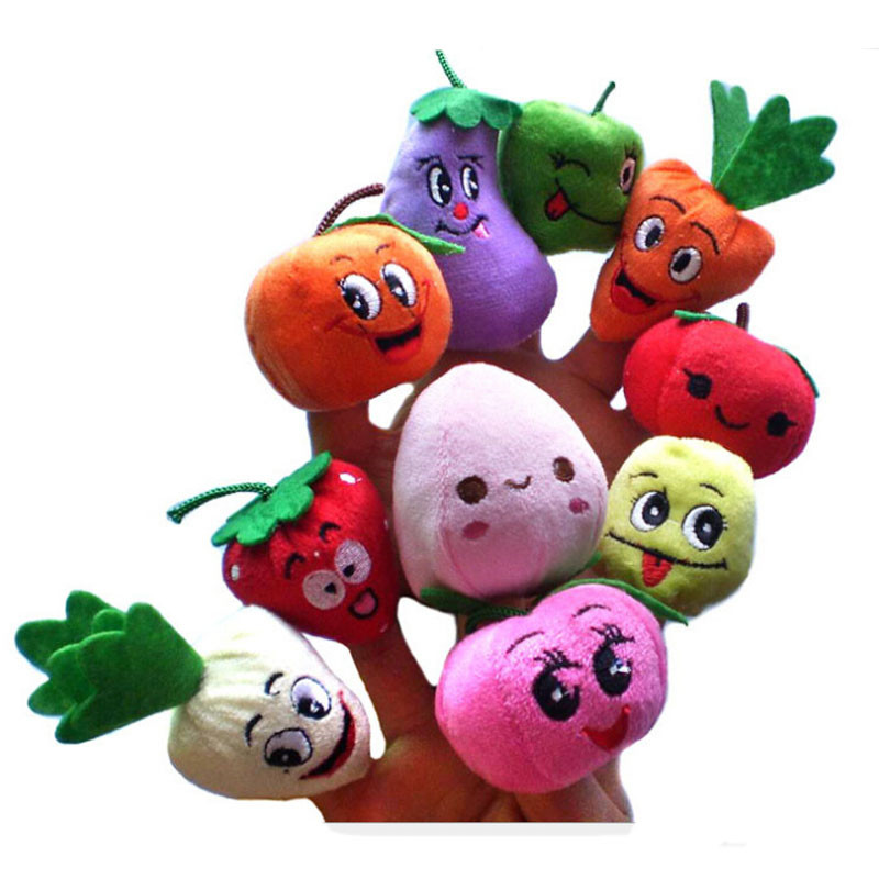 10PCS Cartoon Vegetables Fruit Finger Puppet Finger Toy Finger Doll Baby Cloth Educational Hand Puppet Toy Story(China (Mainland))