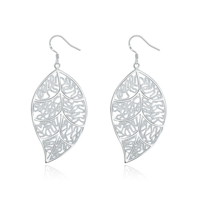2016 Classic Silver Jewelry Lifting the leaves Mesh Drop Earrings Women Wedding Party Favor Accessories(China (Mainland))