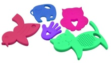Pick Color Big Silicone Pendant Animal Shape Teething Toy Baby Safe Chewable Teether FDA LFGB BPA Passed  2pcs/lot Free Shipping(China (Mainland))