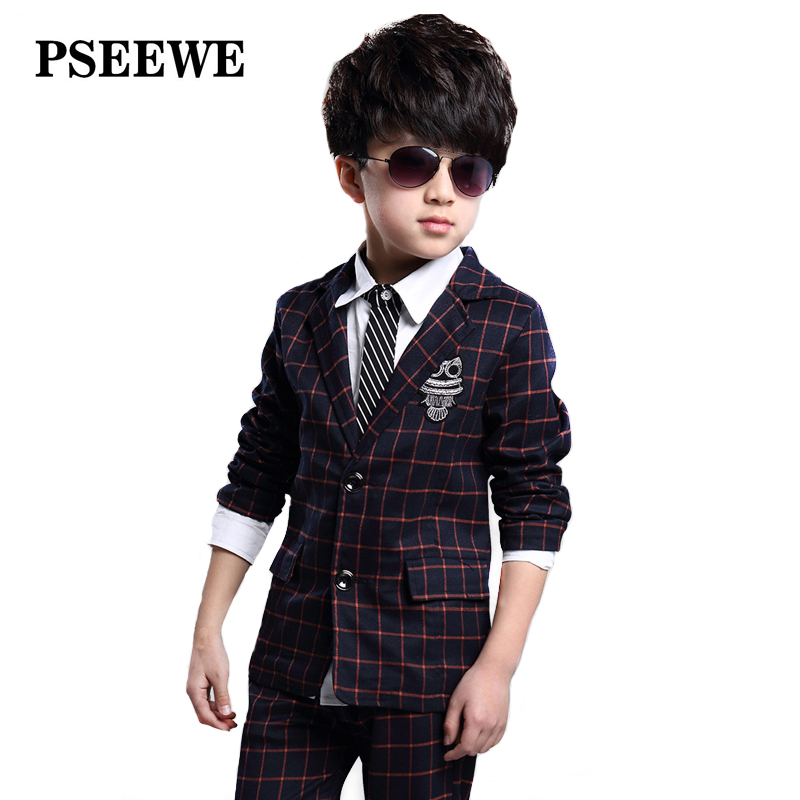 PSEEWE 2016 NEW Kids Boys Suit Clothes Blue Red Plaid Jacket + Trousers Suit Blazer Boys Suit ...