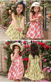 ok Freeshipping summer red yellow plaid Children child Girl Kids baby lady princess sweet sleeveless cotton dress WMBQ111017