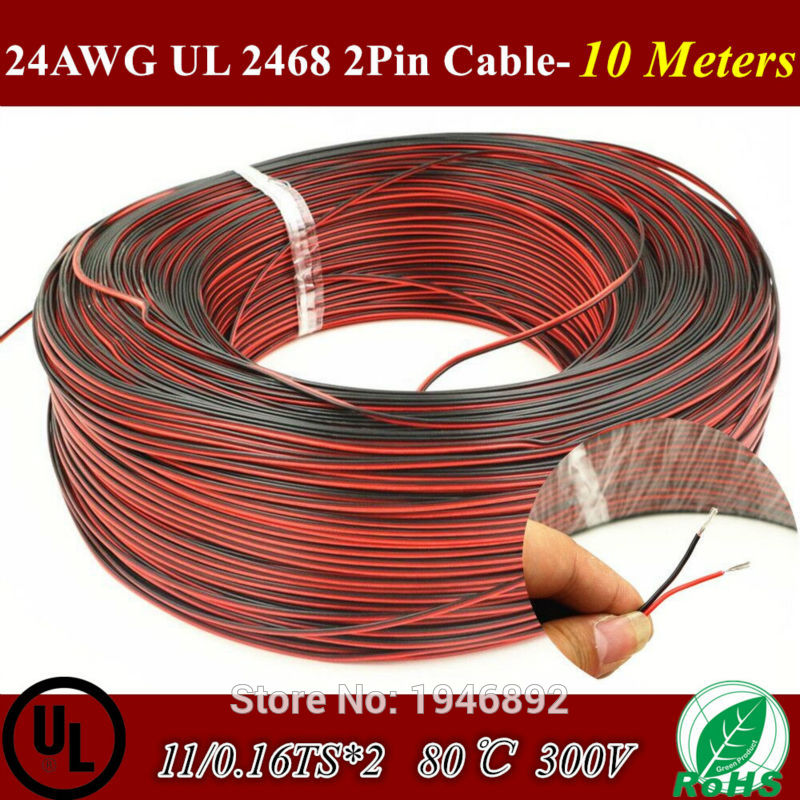 10 M Tinned copper 24AWG, 2 pin Red Black cable UL 2468 80 Degree 300V PVC insulated wire,Electric cable, LED cable 11/0.16TS*2(China (Mainland))