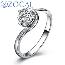 ZOCAI Life IN Rosy Hues La Vie En Ros 0.30 CT Certified I-J / SI Diamond Engagement Ring Round Cut 18K White Gold (Au750) W02893(China (Mainland))