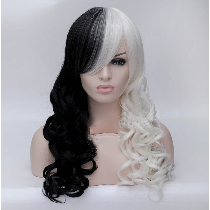 Womens Black White Mix kinky cabello peruca Long Curly Wavy Hair Anime Cosplay Party Full Wig Free Shipping<br><br>Aliexpress