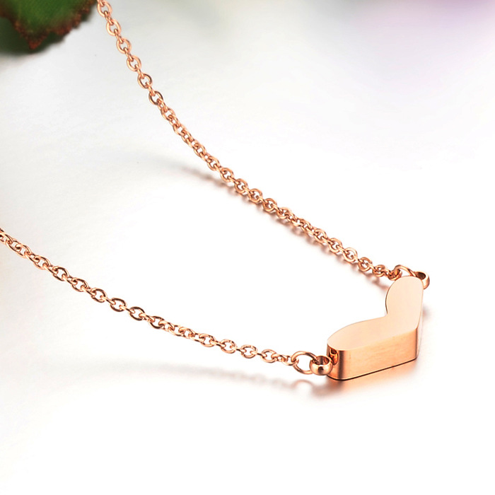 Fashion Top Quality Stainless steel Pendant Rose Gold Plated Heart Shape Necklace Fashion Elegant Design Anti- allergy(China (Mainland))